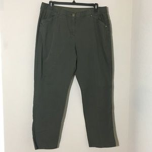 Chico's Straight Leg Ankle Pants Olive Green Sz 16